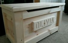 Toy Box PINE WOODEN HandMade PERSONALISED  Pine Ottoman SAFETY HINGE PRESENT