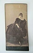 Antique Victorian Cabinet Photo Beautiful Girl in Velvet Dress & Button Shoes