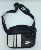 Vintage Nike Swoosh Patent Leather  Messenger Crossbody Bag Black white