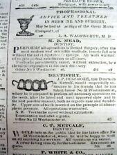 1845 PROVIDENCE Rhode Island newspaper Illustrated DENTIST AD shows TEETH BRIDGE