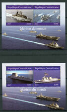 Central African Republic 2017 MNH Military Ships Navy 2x 2v M/S Boats Stamps