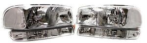 FOR 2000 - 2006 GMC Yukon / Sierra Replacement Headlight Set w/ Bumper Lights