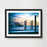 BRIGHTON WEST PIER SUNSET ART PRINT Poster Home Wall Decor Picture A4 A3 A2 Size