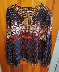 Hanna Andersson Nordic Ski Fair Isle Knit Womens Pull Over Cotton Sweater M Navy