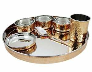 Indian Stainless Steel Copper Dinnerware Thali,Plate,Bowl,Spoon,Glass Dinner Set