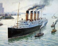 8x10 Print RMS Mauretania Cunard Line  Hudson River 1912 Illustration #RMSM