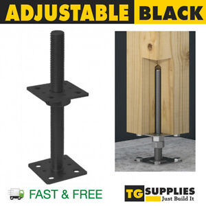 Heavy Duty Galvanised Adjustable Post Support Bolt Down Height 25cm BLACK