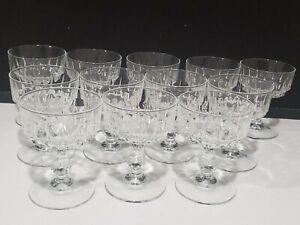 Vintage SET 12 Art Deco Champagne Sherbet Coupe Stemware Glasses Signed France