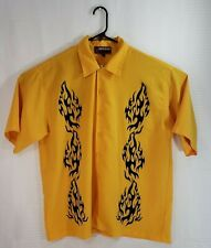 Jnco Men's Shirt Button Up Yellow with Black Tribal Flames Size Xxl
