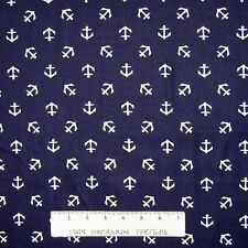 Nautical Fabric - White Anchor Toss on Navy Blue - Dear Stella 33""