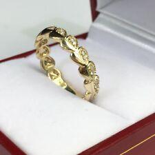 14k Solid Yellow  Gold Beautiful Heart Band Ring Genius Diamond 0.14CT, Size 6.5