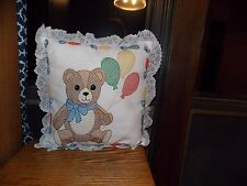 Cross Stitch Pillow Handmade Teddy Bear with Balloons