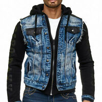 CIPO & BAXX IOWA MENS JEANS HOOD JACKET VEST DENIM ALL SIZES