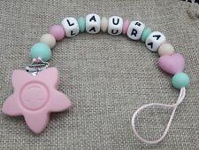 Chupetero bebe personalizado elige el nombre + REGALO bolsa regalo rosa gris