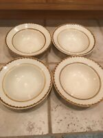"TAHITI CHINA STONEWARE BROWN/CREAM IN COLOR SET OF ""3"" SOUP BOWLS 8"""