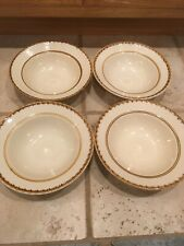 TAHITI CHINA STONEWARE BROWN/CREAM IN COLOR SET OF 4 SOUP BOWLS 8""