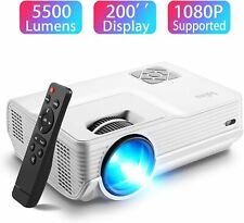 Mini Projector 5500 Lumen 1080P Dual Speakers 200'' Display 50K hours Bright LED