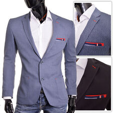 BLUE BLACK Men Blazer Casual Look Slim Fit Chevron Quality Red Finish FREE POST