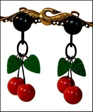 Fruit Earrings - Red Green Black French Designer Resin Dangling Clip On Cherry
