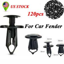 120pcs Car Black Plastic Rivets 8mm Fastener Clip Push Pin For Auto Fender Door