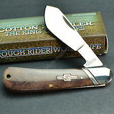 Rough Rider Brown Bone Handle Cotton Sampler 440 Stainless Folding Knife RR1422