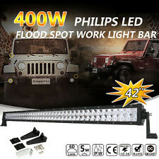 """42""""Inch 400W PHILIPS LED Work Light Bar Flood Spot 4WD Boat Truck Driving Lamp Y"""