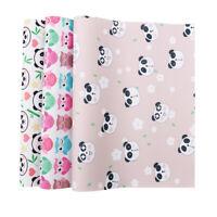 22*30cm Panda Printed Grosgrain Ribbon Leather Fabric for Kids DIY Materials