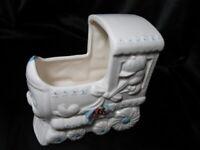 Vintage Ceramic Baby Nursery Music Box Train Planter-mid century Nancy pew