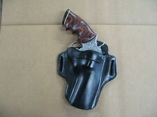 "Colt Python Revolver 4"" Barrel Leather 2 Slot Pancake Belt Holster CCW BLACK RH"