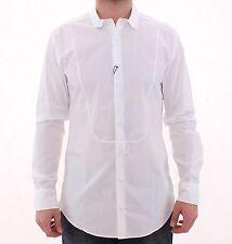 Nuevo con Etiqueta Dolce & Gabbana Oro Blanco Ajustado Vestido Camisa Formal 43/