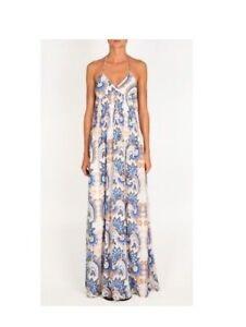NEW w TAGS TIBI Isabella Maxi Dress 100% SILK Ivory Blue 4