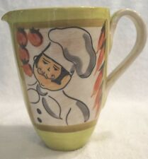 """HAND-PAINTED ITALY 8-1/8""""T HANDCRAFTED POTTERY WATER PITCHER CHEF & CHILI PEPPER"""