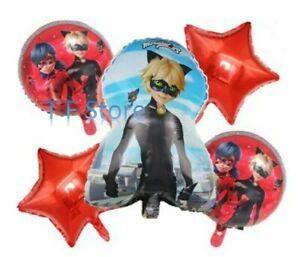 Miraculous Ladybug Birthday Party Foil Balloons 5pcs Sets
