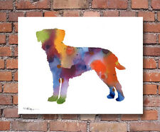 Border Terrier Abstract Contemporary Watercolor Art 11 x 14 Print by Djr