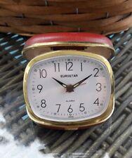 Eurostar Red Case 'TRAVEL ALARM' Clock, Retro, Vintage, shabby chic