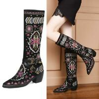 Women's Mid Calf Cowboy Boots Chunky Heels Pointy Toe Embroidery Shoes 34-46 New