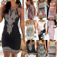 Fashion Women Halter Neck Boho Print Sleeveless Casual Beachwear Dress Sundress
