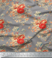 Soimoi Designer Floral Printed 44 Inches Wide Pure Silk Fabric Material 1 Yard