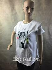 ZARA T-SHIRT WITH PRINT OF LADY WITH CAT HEAD SIZE SMALL (B4) REF: 1165 314