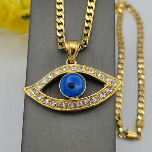 24K Gold Plated Blue Evil Eye Crystal Pendant Necklace. Amulet. Oro Laminado