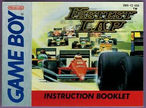 Fastest Lap (Nintendo Game Boy) Instruction Booklet ONLY