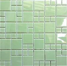 1 SQ M Light Green Glass Modular Mix Wall Splashbacks Mosaic Tiles MT0024