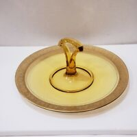 VINTAGE DEPRESSION YELLOW ETCHED GLASS GOLD TRIM TIDBIT SERVING TRAY