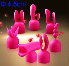7 x TPR Personal Massager Wand Caps Accessories Pink Silicone Massage Wand Heads