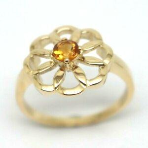Kaedesigns New Genuine Size R 9ct 9k Yellow Gold Orange Citrine Flower Ring
