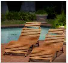Sunbathing Lounge Chair Chaise Longue Pool Patio Set Of 2 Outdoor Wood Furniture