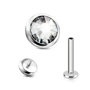 Titan Ohr Helix Tragus Lippen Piercing Stecker Flache Kristall Platte Labret
