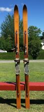 """New listing Beautiful Wooden 'Clement' SKIS 74"""" Long w/ Applied Wood Snow Skiis BEAUTIES!"""