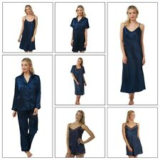 Ladies Navy Long Satin Chemise PJs Pyjamas Set Nightdress Size 8 - 34 plus size