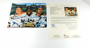 Mickey Mantle/Willie Mays/Duke Snider Signed 8 x 10 Color Lithograph 3 JSA Autos